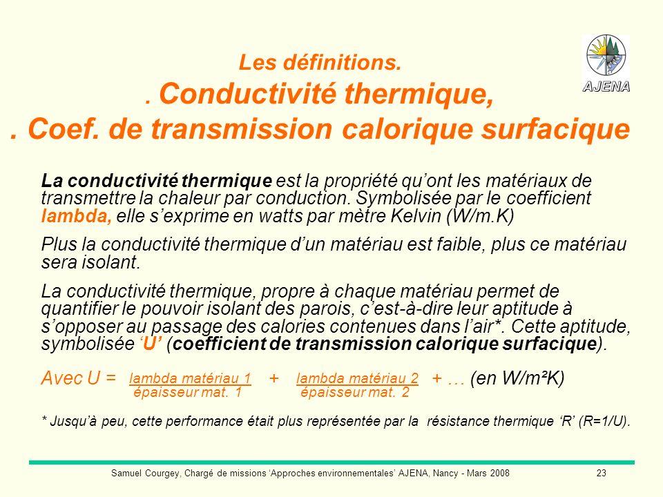 Samuel Courgey, Chargé de missions Approches environnementales AJENA, Nancy - Mars 200823 Les définitions.. Conductivité thermique,. Coef. de transmis