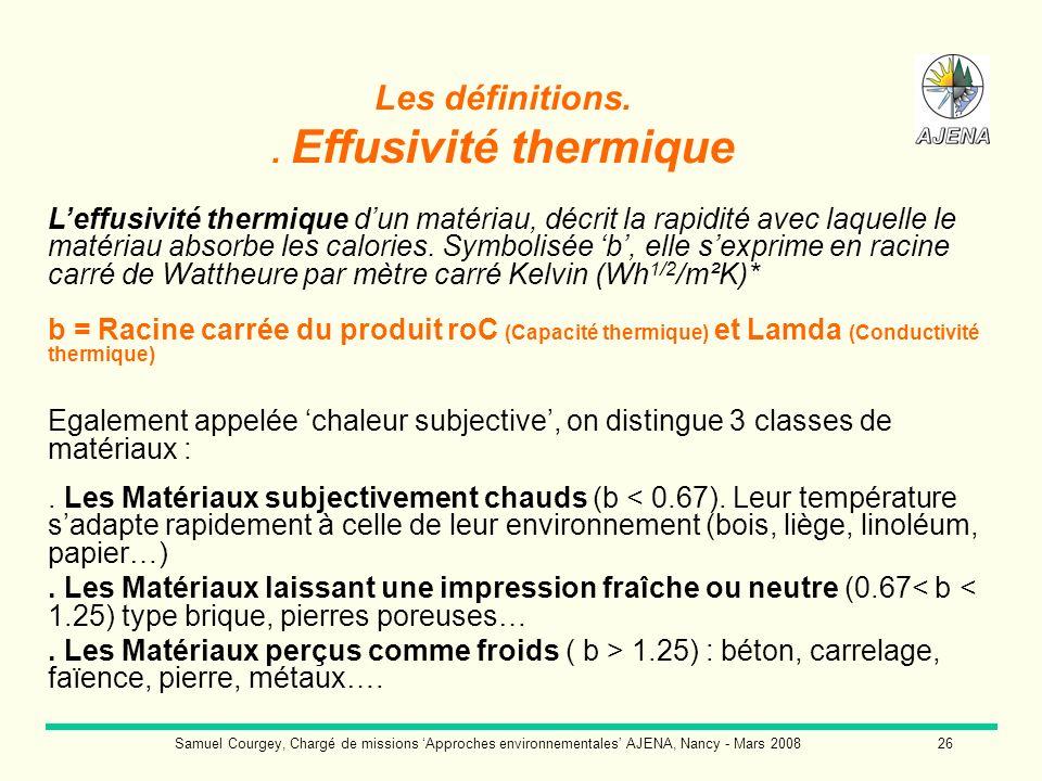 Samuel Courgey, Chargé de missions Approches environnementales AJENA, Nancy - Mars 200826 Les définitions.. Effusivité thermique Leffusivité thermique