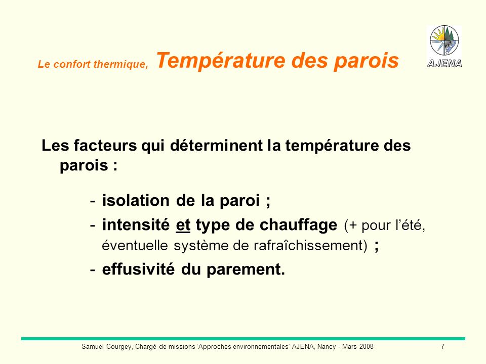 Samuel Courgey, Chargé de missions Approches environnementales AJENA, Nancy - Mars 20088 Le confort thermique, Température des parois Isoler la paroi / température de la paroi