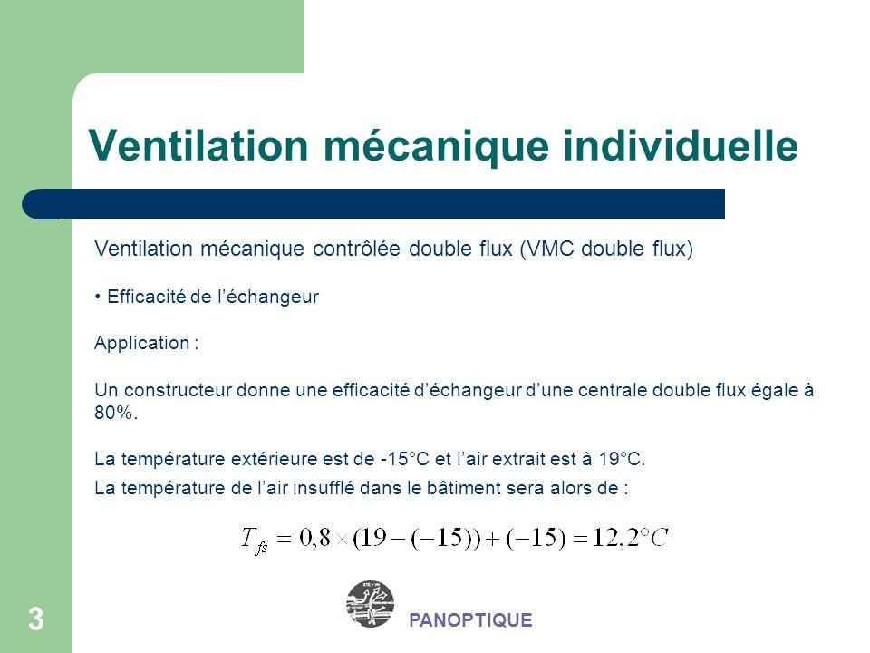 3 PANOPTIQUE Ventilation mécanique contrôlée double flux (VMC double flux) Efficacité de léchangeur Application : Un constructeur donne une efficacité