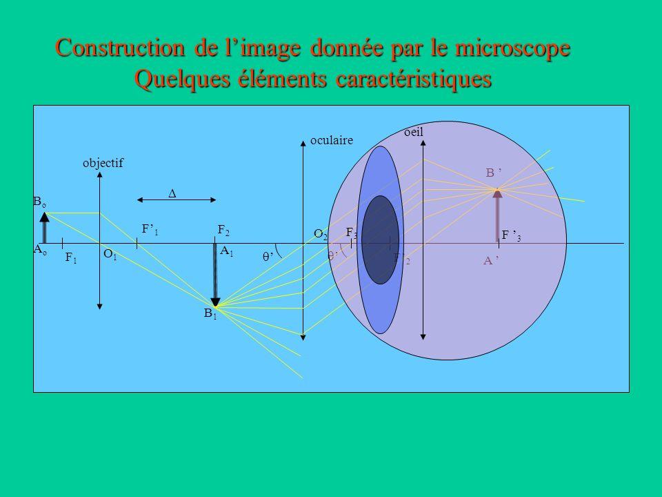 A1A1 B1B1 AoAo BoBo A B Construction de limage donnée par le microscope Quelques éléments caractéristiques objectif F1F1 F1F1 O1O1 oculaire F2F2 F2F2 O2O2 oeil F3F3 F 3