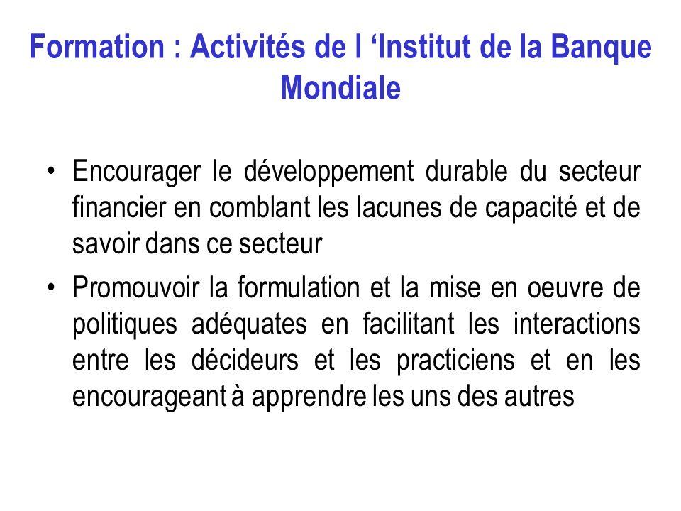 3 Composantes de formation Communication et sensibilisation sur le secteur financier Initiative sur le développement des capacités du Programme dEvaluation du Secteur Financier (FSAP) Lutte contre le blanchiment dargent et le financement du terrorisme