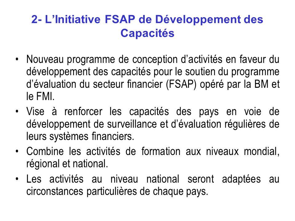 2- LInitiative FSAP de Développement des Capacités Nouveau programme de conception dactivités en faveur du développement des capacités pour le soutien du programme dévaluation du secteur financier (FSAP) opéré par la BM et le FMI.