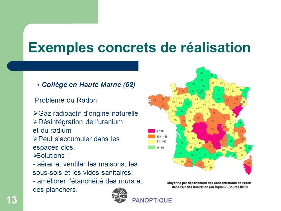 13 Exemples concrets de réalisation PANOPTIQUE Collège en Haute Marne (52) Problème du Radon Gaz radioactif d'origine naturelle Désintégration de l'ur
