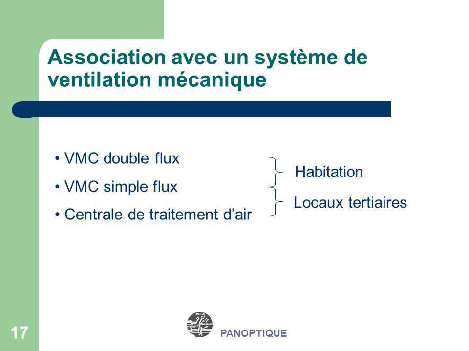 17 PANOPTIQUE Association avec un système de ventilation mécanique VMC double flux VMC simple flux Centrale de traitement dair Habitation Locaux terti