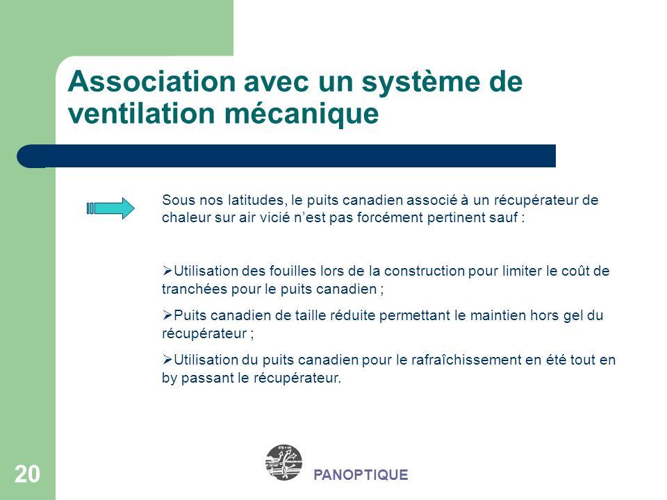20 PANOPTIQUE Association avec un système de ventilation mécanique Sous nos latitudes, le puits canadien associé à un récupérateur de chaleur sur air