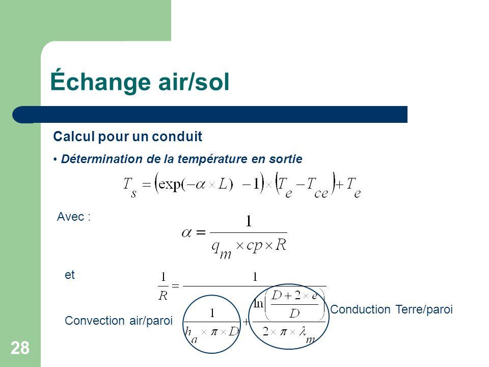28 Calcul pour un conduit Avec : Détermination de la température en sortie et Convection air/paroi Conduction Terre/paroi Échange air/sol