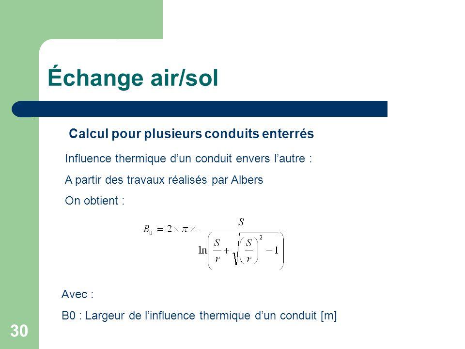 30 Calcul pour plusieurs conduits enterrés Influence thermique dun conduit envers lautre : A partir des travaux réalisés par Albers On obtient : Avec