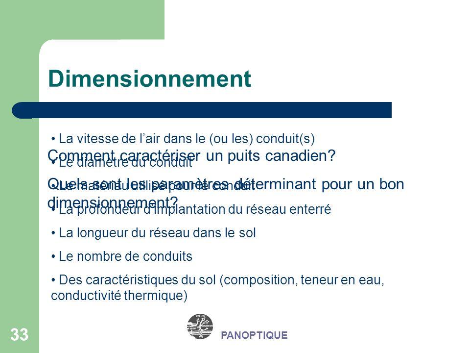 33 PANOPTIQUE Dimensionnement Comment caractériser un puits canadien? Quels sont les paramètres déterminant pour un bon dimensionnement? La vitesse de