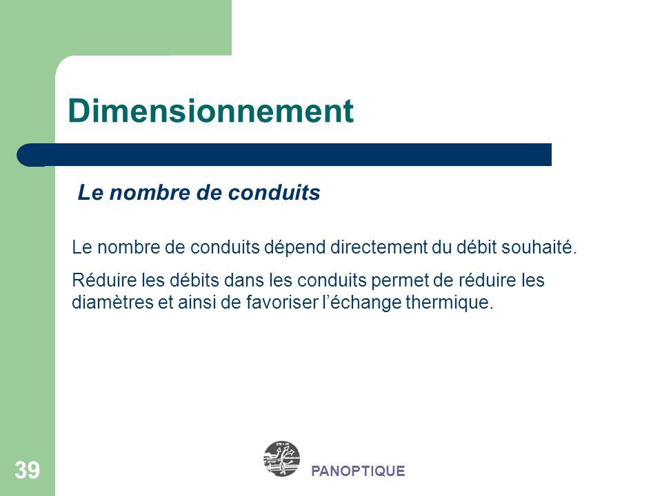 39 PANOPTIQUE Dimensionnement Le nombre de conduits Le nombre de conduits dépend directement du débit souhaité. Réduire les débits dans les conduits p
