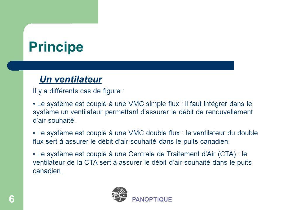 6 PANOPTIQUE Principe Un ventilateur Il y a différents cas de figure : Le système est couplé à une VMC simple flux : il faut intégrer dans le système