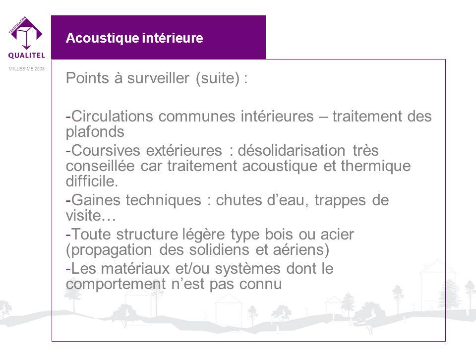 MILLESIME 2008 Acoustique intérieure Points à surveiller (suite) : -Circulations communes intérieures – traitement des plafonds -Coursives extérieures