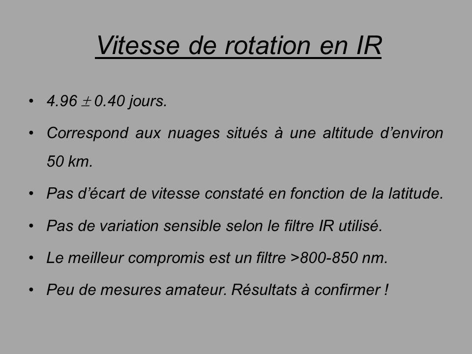 Vitesse de rotation en IR 4.96 0.40 jours. Correspond aux nuages situés à une altitude denviron 50 km. Pas décart de vitesse constaté en fonction de l