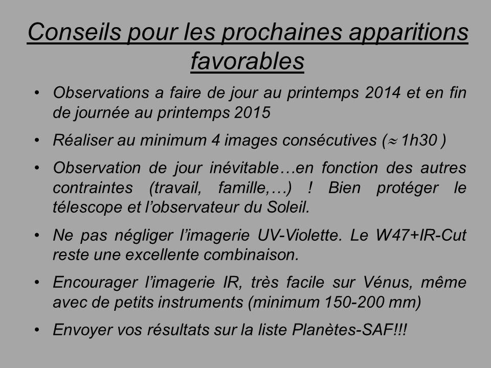 Conseils pour les prochaines apparitions favorables Observations a faire de jour au printemps 2014 et en fin de journée au printemps 2015 Réaliser au
