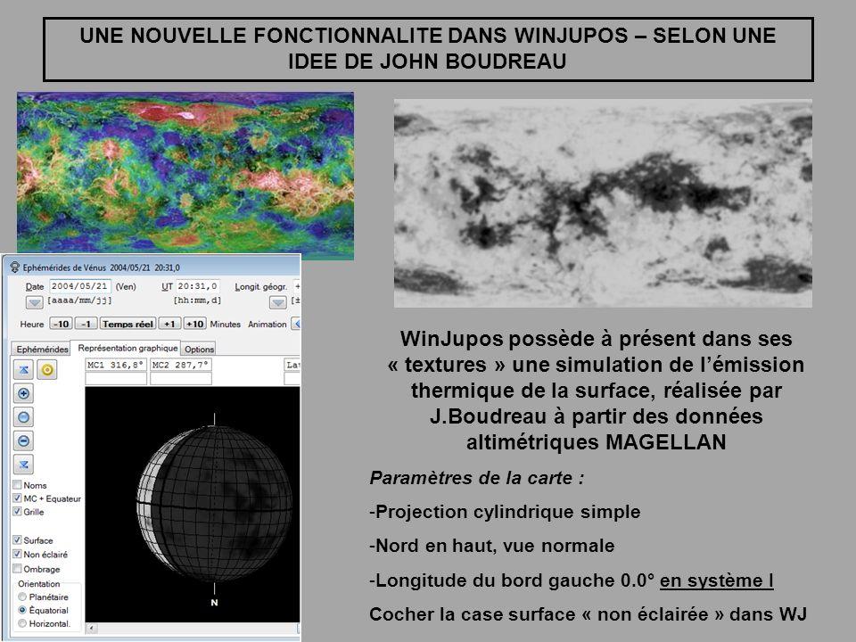 UNE NOUVELLE FONCTIONNALITE DANS WINJUPOS – SELON UNE IDEE DE JOHN BOUDREAU WinJupos possède à présent dans ses « textures » une simulation de lémissi