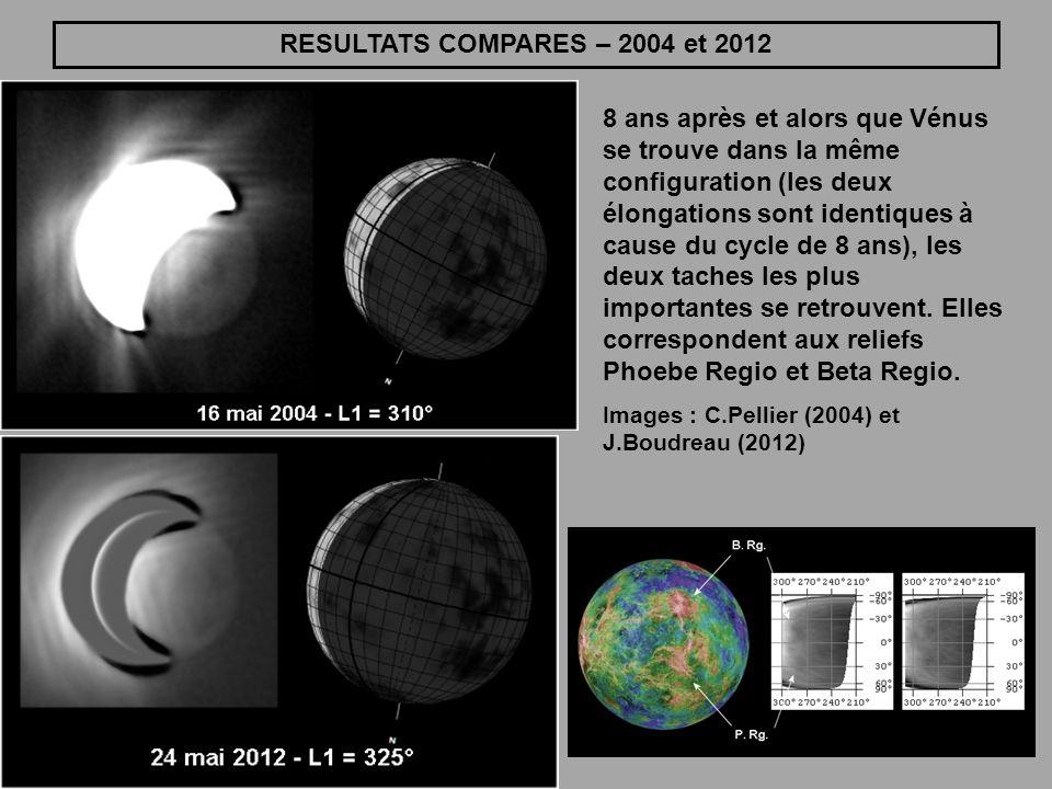 RESULTATS COMPARES – 2004 et 2012 8 ans après et alors que Vénus se trouve dans la même configuration (les deux élongations sont identiques à cause du