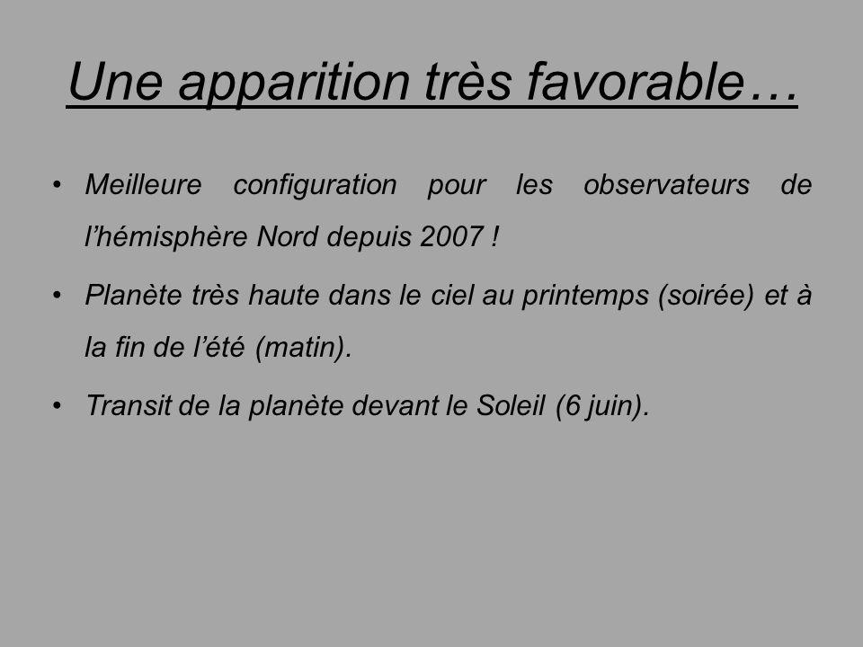 Une apparition très favorable… Meilleure configuration pour les observateurs de lhémisphère Nord depuis 2007 ! Planète très haute dans le ciel au prin