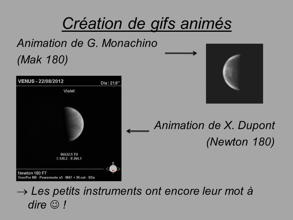 Création de gifs animés Animation de G. Monachino (Mak 180) Animation de X. Dupont (Newton 180) Les petits instruments ont encore leur mot à dire !