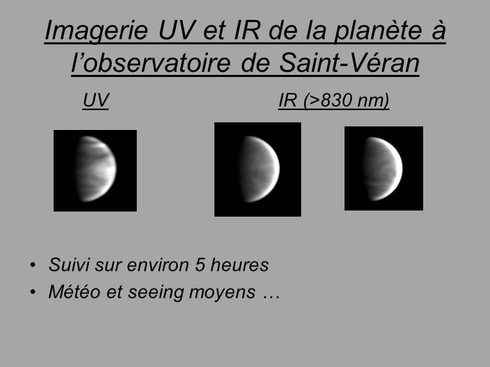 Imagerie UV et IR de la planète à lobservatoire de Saint-Véran UV IR (>830 nm) Suivi sur environ 5 heures Météo et seeing moyens …