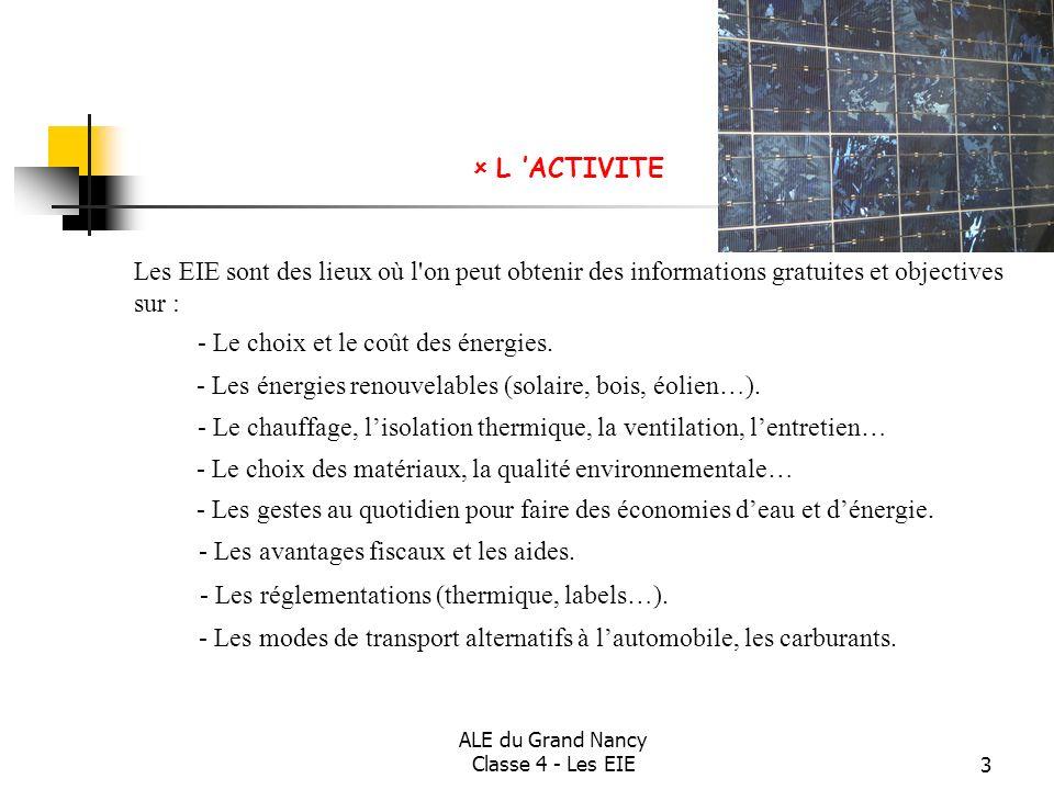 ALE du Grand Nancy Classe 4 - Les EIE3 Les EIE sont des lieux où l'on peut obtenir des informations gratuites et objectives sur : - Le choix et le coû