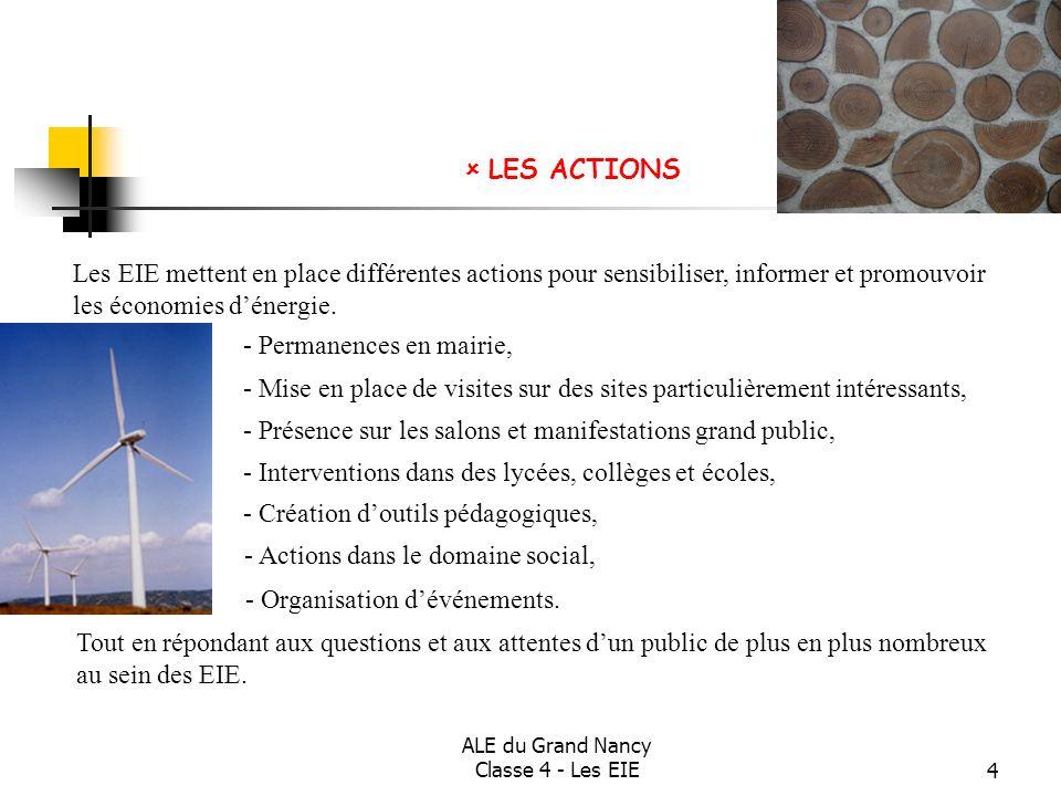 ALE du Grand Nancy Classe 4 - Les EIE5 En 2007, en Lorraine, le réseau des EIE a conseillé plus de 5000 personnes sur des questions très variées.