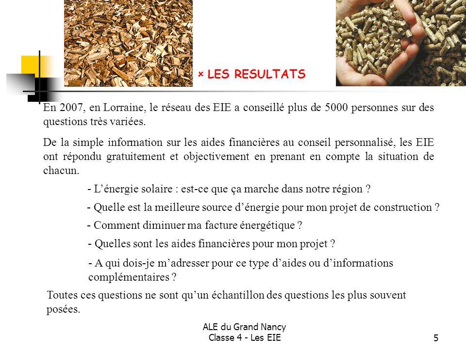 ALE du Grand Nancy Classe 4 - Les EIE5 En 2007, en Lorraine, le réseau des EIE a conseillé plus de 5000 personnes sur des questions très variées. De l