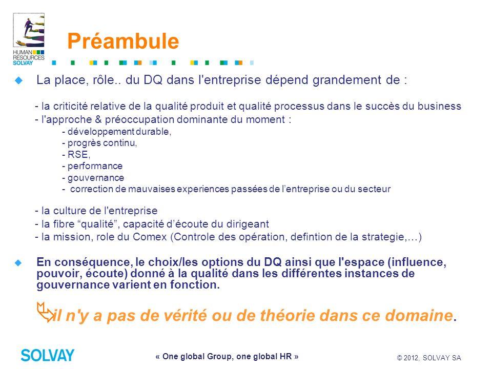 © 2012, SOLVAY SA 3 « One global Group, one global HR » Préambule La place, rôle.. du DQ dans l'entreprise dépend grandement de : - la criticité relat