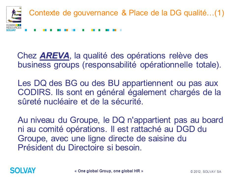 © 2012, SOLVAY SA 4 « One global Group, one global HR » Contexte de gouvernance & Place de la DG qualité…(1) AREVA Chez AREVA, la qualité des opératio