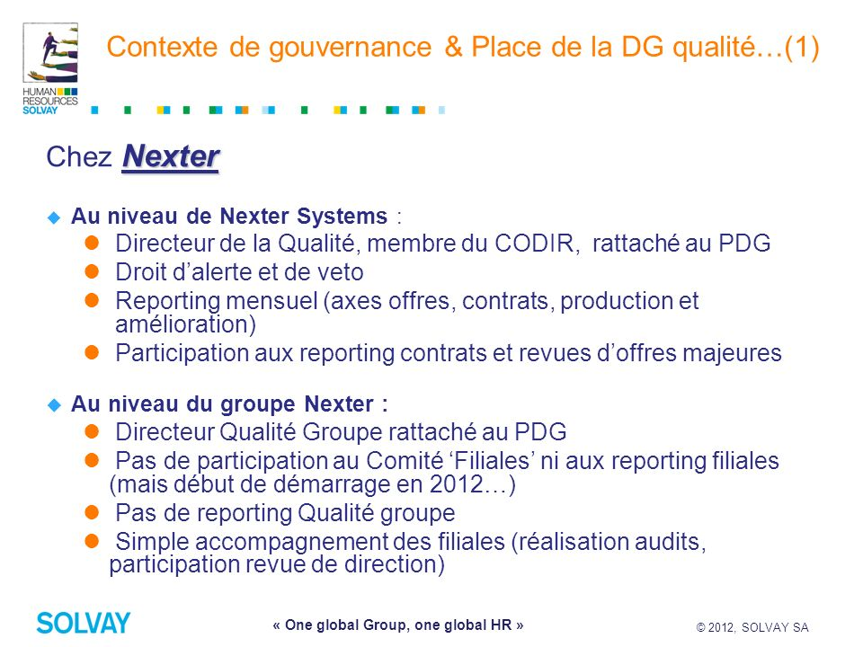 © 2012, SOLVAY SA 6 « One global Group, one global HR » Solvay Chez Solvay Au niveau de Business Unit (< 1 G) ou dun secteur (3- 4 G) - Le responsable Qualité/performance (BPIM) est membre du CODIR et rattaché au BU manager (Hiérarchiquement ou fonctionnellement) Au niveau du Groupe Solvay (12 G) : - Pas de Directeur Qualité Groupe rattaché au PDG, la qualité est la responsabilité des BU/Sector managers - Il existe un Corporate Centre « Qualité/Performance » rattaché au DG RH du Groupe qui rapporte au CEO - les Corp Centers définissent des politiques et des initiatives (yc KPI, KRI) Groupe non négociables, la « compliance » des BU vis-à-vis des politiques et initiatives Groupe est vérifié par des audits internes ou au travers des reporting du Groupe.