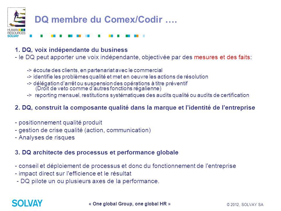 © 2012, SOLVAY SA 7 « One global Group, one global HR » DQ membre du Comex/Codir …. 1. DQ, voix indépendante du business - le DQ peut apporter une voi
