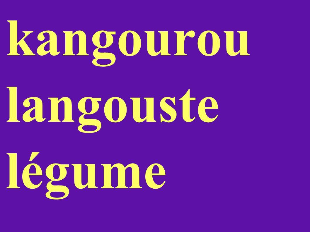 kangourou langouste légume