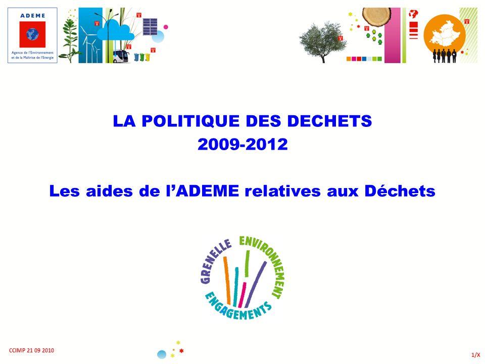 LA POLITIQUE DES DECHETS 2009-2012 Les aides de lADEME relatives aux Déchets 1/X CCIMP 21 09 2010