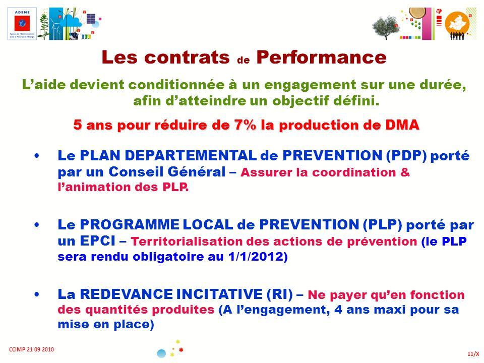 11/X CCIMP 21 09 2010 Les contrats de Performance Laide devient conditionnée à un engagement sur une durée, afin datteindre un objectif défini. 5 ans