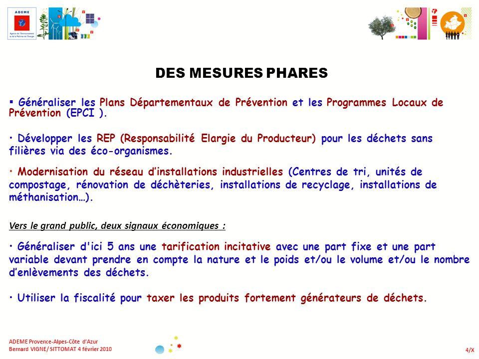 4/X ADEME Provence-Alpes-Côte dAzur Bernard VIGNE/ SITTOMAT 4 février 2010 DES MESURES PHARES Généraliser les Plans Départementaux de Prévention et le