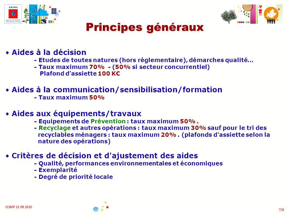 7/X CCIMP 21 09 2010 Principes généraux Aides à la décision - Etudes de toutes natures (hors réglementaire), démarches qualité… - Taux maximum 70% - (