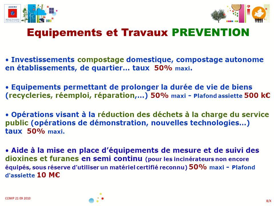 8/X CCIMP 21 09 2010 Equipements et Travaux PREVENTION Investissements compostage domestique, compostage autonome en établissements, de quartier… taux