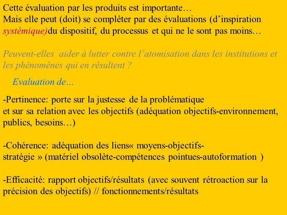 Les différents types dévaluation « applicables » à un projet de formation: Cf.