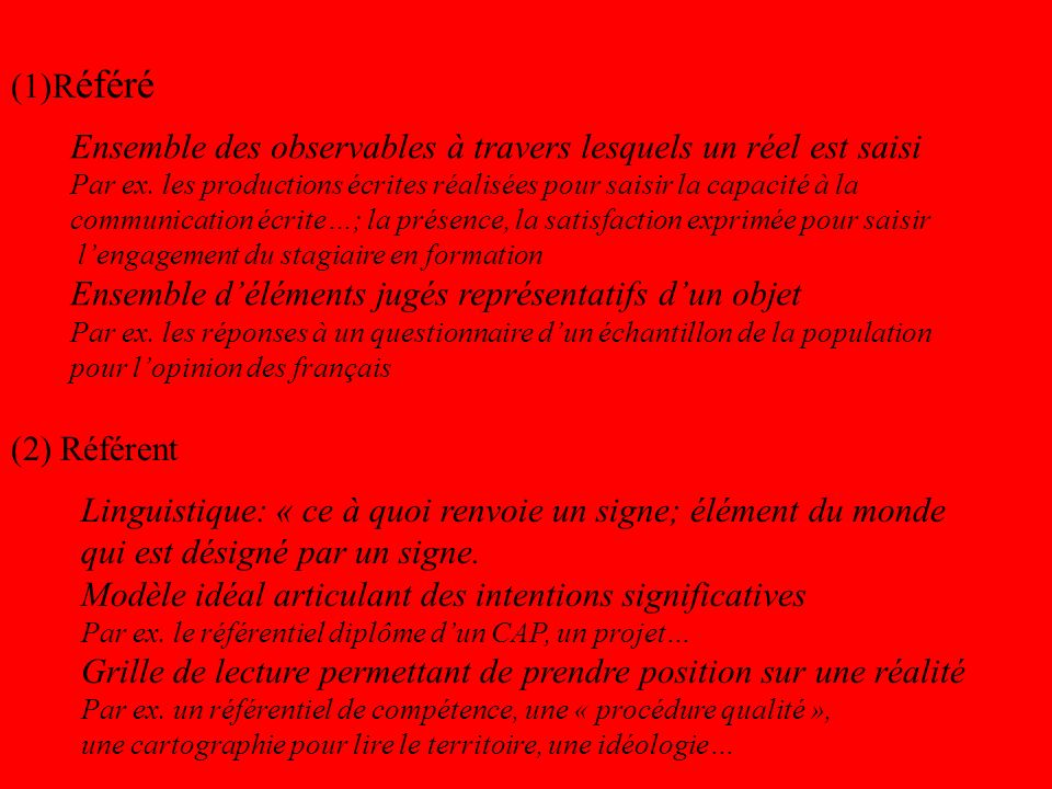 (1)R éféré (2) Référent Ensemble des observables à travers lesquels un réel est saisi Par ex.