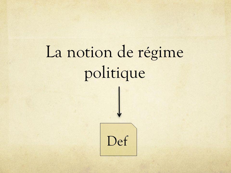 La notion de régime politique Def