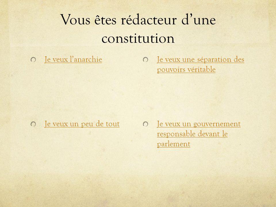Vous êtes rédacteur dune constitution Je veux lanarchie Je veux un peu de tout Je veux une séparation des pouvoirs véritable Je veux un gouvernement r