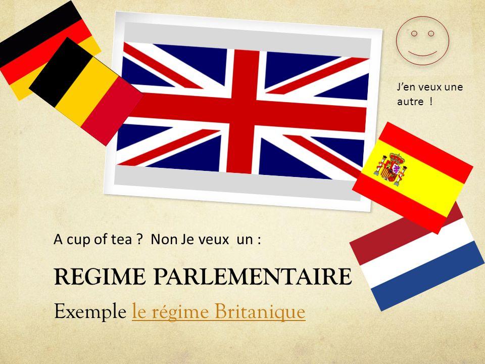 REGIME PARLEMENTAIRE Exemple le régime Britaniquele régime Britanique A cup of tea ? Non Je veux un : Jen veux une autre !