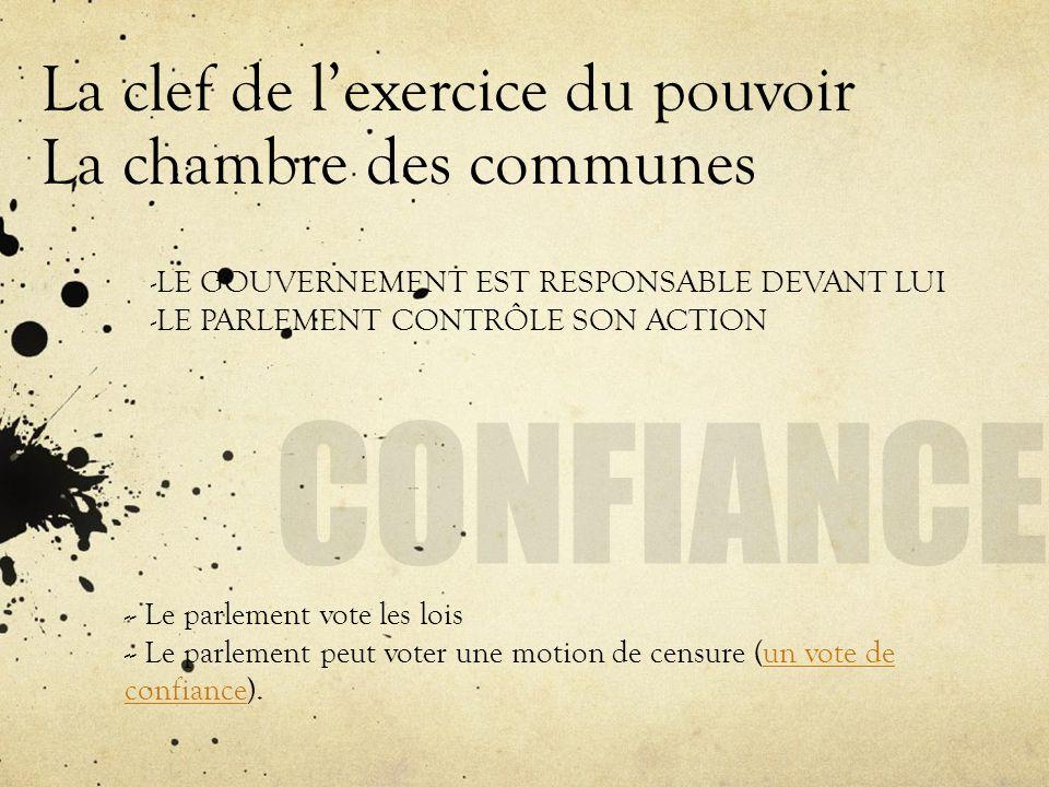 La clef de lexercice du pouvoir La chambre des communes - - Le parlement vote les lois - - Le parlement peut voter une motion de censure (un vote de c