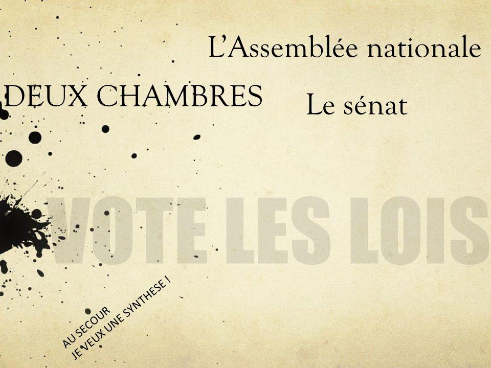 DEUX CHAMBRES LAssemblée nationale Le sénat AU SECOUR JE VEUX UNE SYNTHESE !