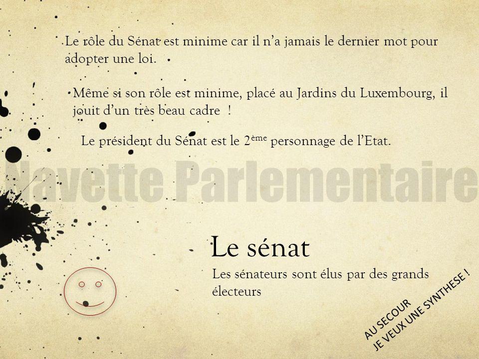 Le sénat Les sénateurs sont élus par des grands électeurs Le rôle du Sénat est minime car il na jamais le dernier mot pour adopter une loi. Même si so