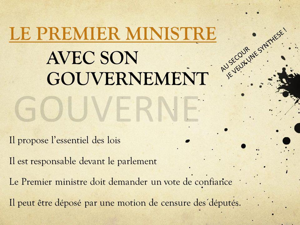 LE PREMIER MINISTRE AVEC SON GOUVERNEMENT GOUVERNE Il propose lessentiel des lois Il est responsable devant le parlement Le Premier ministre doit dema