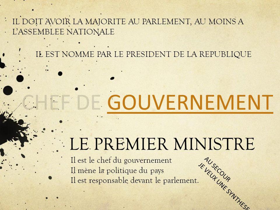 LE PREMIER MINISTRE Il est le chef du gouvernement Il mène la politique du pays Il est responsable devant le parlement. IL DOIT AVOIR LA MAJORITE AU P
