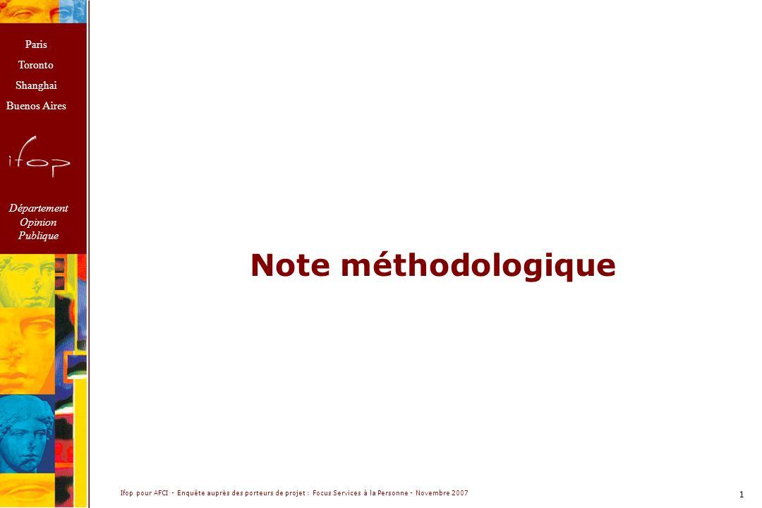 Paris Toronto Shanghai Buenos Aires Département Opinion Publique Ifop pour AFCI - Enquête auprès des porteurs de projet : Focus Services à la Personne - Novembre 2007 1 Note méthodologique