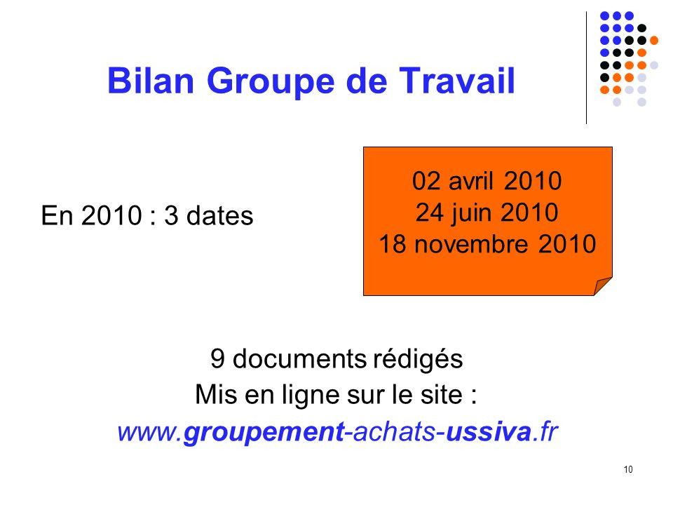 10 Bilan Groupe de Travail En 2010 : 3 dates 9 documents rédigés Mis en ligne sur le site : www.groupement-achats-ussiva.fr 02 avril 2010 24 juin 2010 18 novembre 2010