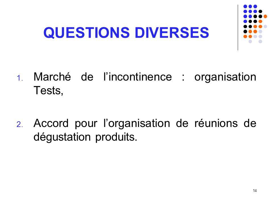 14 QUESTIONS DIVERSES 1. Marché de lincontinence : organisation Tests, 2.