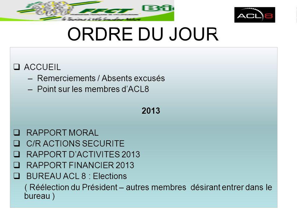 ORDRE DU JOUR ACCUEIL –Remerciements / Absents excusés –Point sur les membres dACL8 2013 RAPPORT MORAL C/R ACTIONS SECURITE RAPPORT DACTIVITES 2013 RA